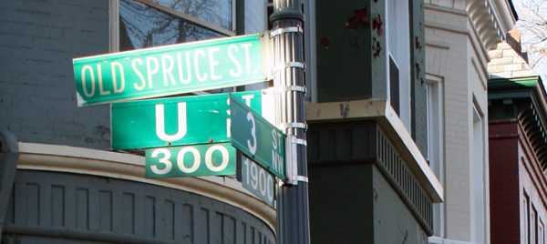 Old Spruce St Sign