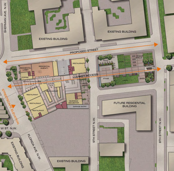Site plan and surrounding streets for The Griffith development